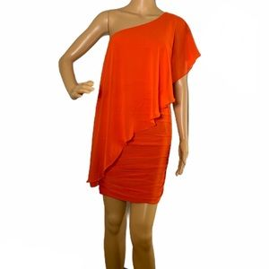 Bebe•One Shoulder Overlay Ruched Dress.